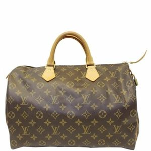 LOUIS VUITTON Speedy 35 Monogram Canvs Satchel Bag